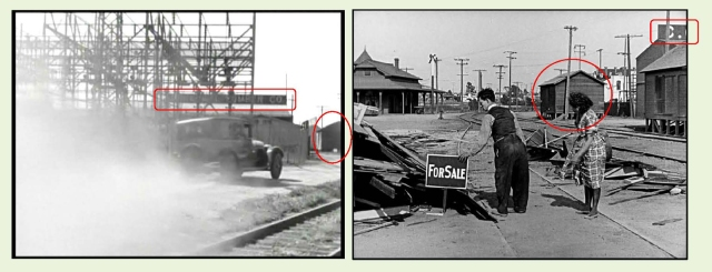"Matching views west in ""G"" Men and east in One Week.  The same lime storage shed (oval) appears in each image."