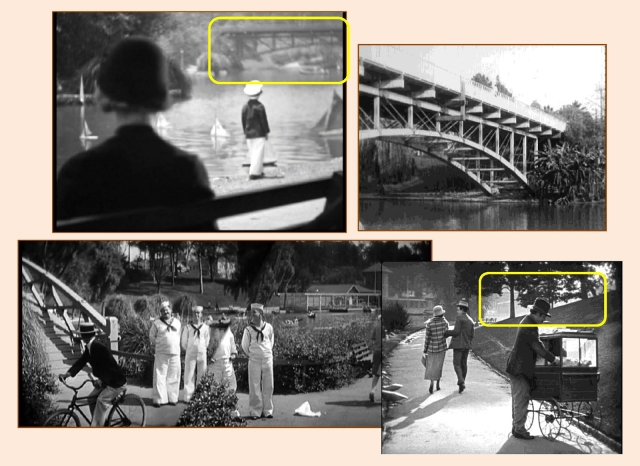 Bette Davis watches over Ann's son as the former 6th Street Bridge straddling Hollenbeck Park appears at back.  Below, a panoramic view of the park, looking south towards the bridge, from Laurel & Hardy's Men O' War and Harold Lloyd's Girl Shy.