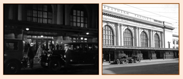 'G' Men night scene staged at the former Southern Pacific depot at 5th and Central. USC Digital Library.