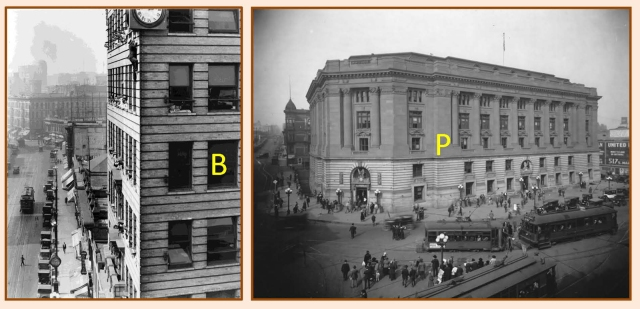 A closing comparison shot of the International Bank Building (B) as it appeared during Bill Strother's real-life climb staged for Safety Last!, and a view looking up Temple at the former Post Office building.  USC Digital Library.