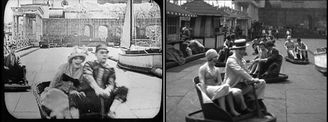 Buster Keaton (far left) and Al St. John rode the same Witching Waves ride during their short comedy Coney Island (1917) that Harold and Ann Christy rode ten years later filming Speedy