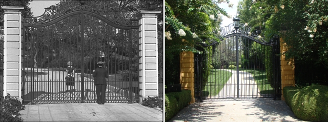 Buster Keaton beside the Jewett Estate gate in Cops.