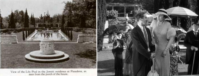 Groucho and Margaret Dumont, looking south along the lily pond.