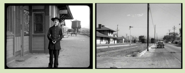 Charlie beside the Saugus station in The Pilgrim and as it appears in Suddenly.