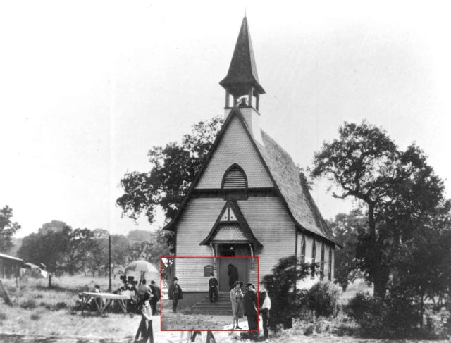The church was built in 1891 and replaced with a modern stucco structure in 1923, the same year Chaplin filmed The Pilgrim.