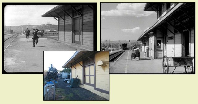 Chaplin beside the Saugus station, fully revealed in the Suddenly frame, and as it appears today at its new location. Color images by E. J. Stephens.