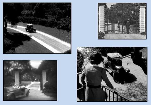 The upper left and lower right images from Finishing School suggest the full length of the driveway, which appears from the gate in Cops, upper right, and in the William Haines comedy-romance Spring Fever (1927), lower left.