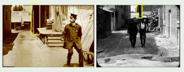 Looking west towards Cahuenga, these views from Gale Henry's Gaumont Co. short The Detectress (1919) and Keaton's Neighbors (1920) show the back of the rickety stairway, removed before Buster returned to film Cops.