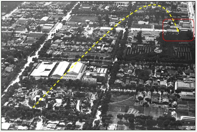 Looking west.  Most of Cahuenga (red box) is still empty lots. HollywoodPhotographs.com