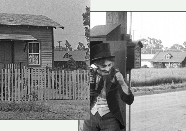 A closer view of 1062 Vine Street appearing in two films; Keaton's The Scarecrow and Chaplin's The Fireman.