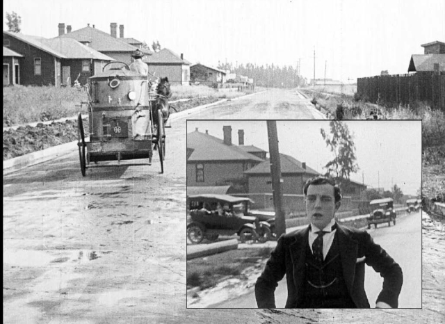 Looking south down Lillian Way from Eleanor - Chaplin in The Fireman and Keaton (inset) eight years later in Sherlock Jr.