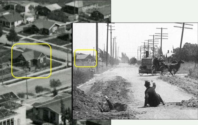 This detailed view matches a 1922 aerial photo with the 1916 movie frame - Vine (red box) stands at back.