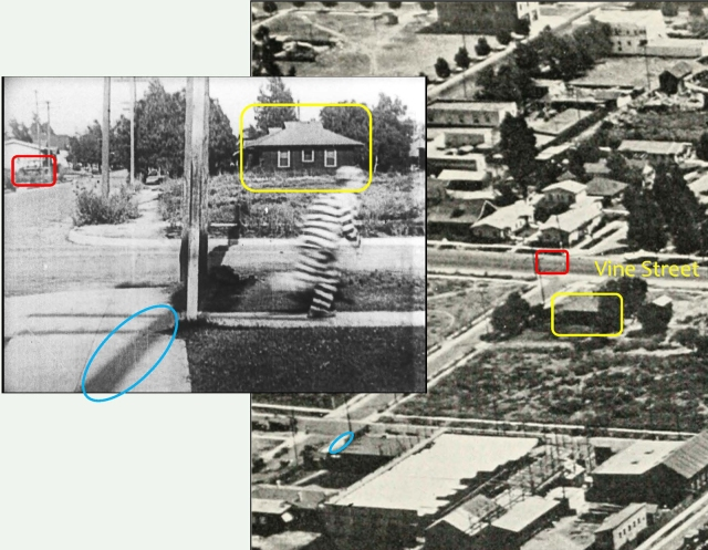 Returning to Convict 13, Buster runs down Lillian Way, with the shadow of Leo White's telephone pole (blue), a car driving north up Vine (red box), and the homes at 6200 and 6206 Eleanor (yellow box) at back.