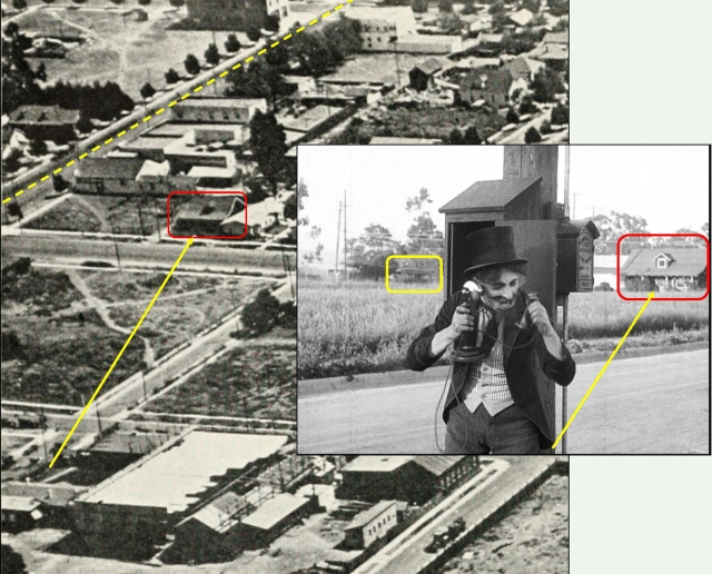 Leo White frantically telephones the fire department standing on Eleanor mid-way between Cahuenga and Lillian Way. A trolley (yellow box) runs east along Santa Monica Blvd., while the distinctive single dormer home at 1062 Vine Street (red box) appears at back