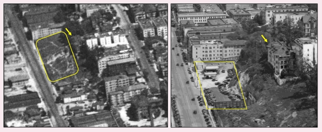 The left image was taken in 1923. A portion of the hillside along Flower Street was excavated, making way for a new building, gas station, and parking lot. LAPL.