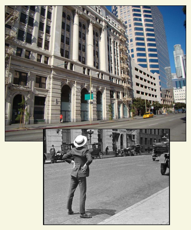 Harold on Grand Avenue before the Trinity Auditorium.