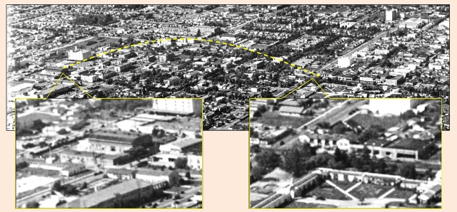 Click to enlarge - the Keaton Studio at right, at Eleanor and Lillian Way, just a few blocks west of the corner of Santa Monica and Gower, at left. Marc Wanamaker - Bison Archives.