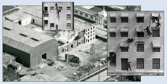 You can easily see the My Wife's Relations stunt set in this aerial view of Buster's studio. Buster used the set later that year for a scene with some police in Day Dreams. These sets appear in other filmed described in my Mr. Keaton's Neighborhood post.