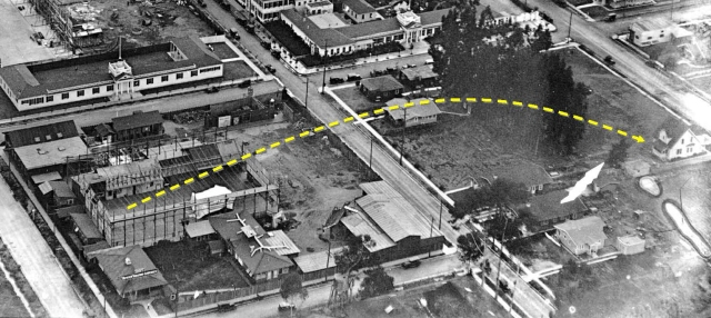 This aerial view, taken in 1921 during Keaton's production of The Goat, shows the home relative to the open air stage that Keaton would close over later that year.