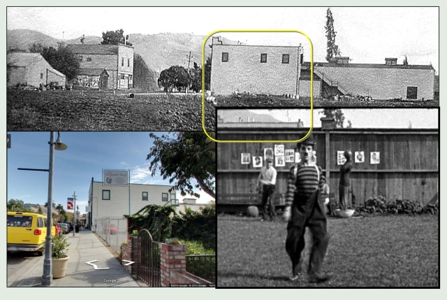 Charlie struts and performs calisthenics within the fenced in studio ground. He walked with his dog along the other side of this fence. Looking east, the top of the extant Edison Theater peaks over the fence. The color view shows the side of the theater today, now home to the Niles Essanay Silent Film Museum.