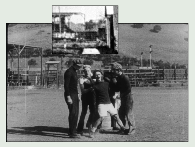 Looking north, this frame from Ben Turpin's 1913 comedy shows the Sullivan Park baseball field, due west of the studio. The inset, reversed for comparison, comes from Charlie's scene.