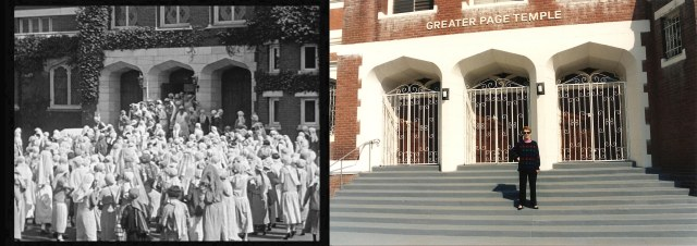 The late Mrs. Eleanor Keaton on the steps of the Seven Chances church. She joked that whereas hundreds of women before her had failed, she was the one woman to capture Buster.