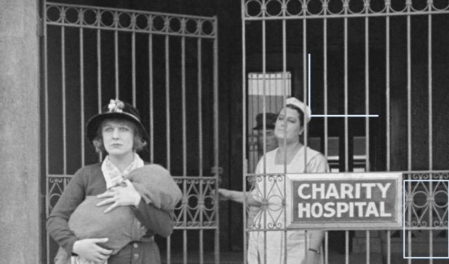 Click to enlarge - the grill work above the gate entrance is still in place. Brad reports that the 'pleasant' nurse was portrayed by Chaplin's personal secretary Nellie Bly Baker.